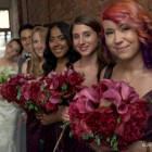 Burgundy Bridal Bouquets NYC May Wedding