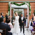 Mrs and Mrs Married wedding ceremony outdoor wedding hotel giraffe