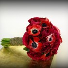 Red Anemone and Garden Rose Bridal Bouquet