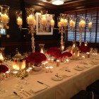 Upscale Dinner Party Rose Pave candelabras silver and red holiday flowers christmas blank slate events floral centerpieces